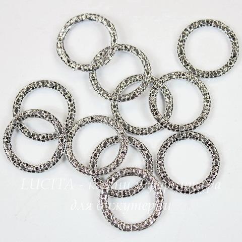 "Коннектор - кольцо ""Сердечки"" 14 мм (цвет - античное серебро), 10 шт"