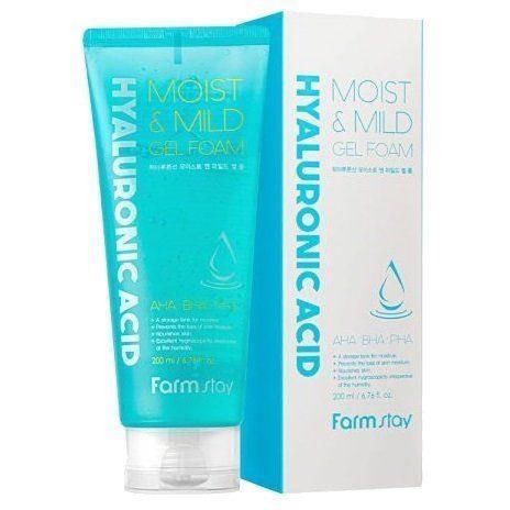Пенки для умывания Пенка для умывания очищающая с гиалуроновой кислотой и АНА,ВНА кислотами FARMSTAY  Hyaluronic Acid Moist & Mild Gel Foam 200 мл farmstay_hyaluronic_acid_moist_mild_gel_foam.jpg