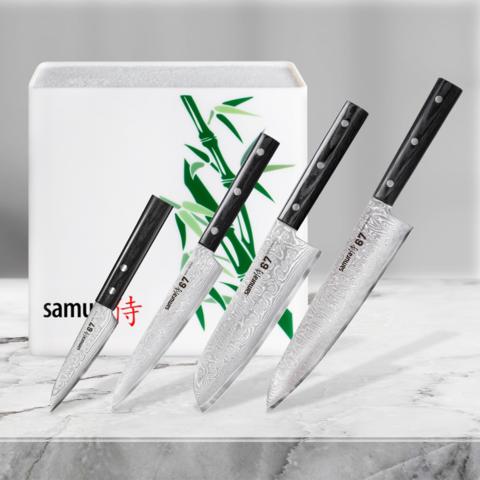 Набор из 4 кухонных стальных ножей Samura 67 Damascus и подставки KBH-101BW