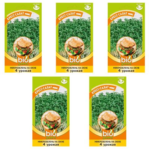 Микрозелень КРЕСС-САЛАТ микс, семена, 5 упаковок, Гавриш (Bio greens)