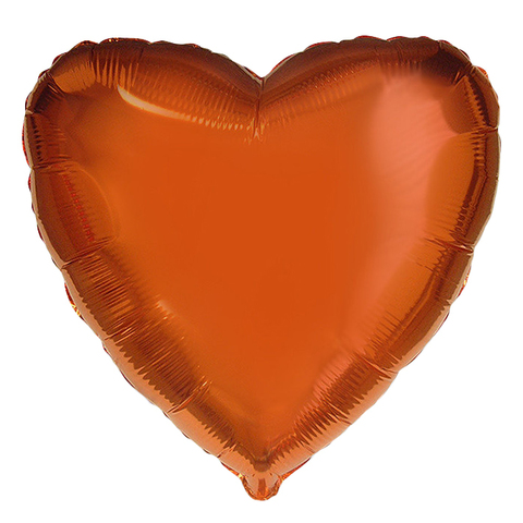 Шар-сердце оранжевый, 45 см
