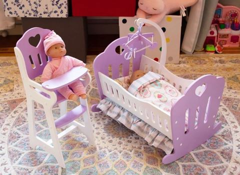 Кроватка Lilu для куклы до 50 см (Baby Born, Annabell) фиолетовая