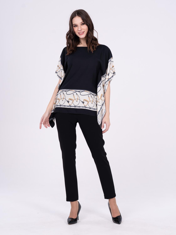 Блуза Г642-373 - Летняя блуза свободной формы со спущенной линией плеча. Прекрасно подойдет как для повседневного образа, так и для праздничного. Подходит для фигур любого типа, создавая яркий и стильный образ.