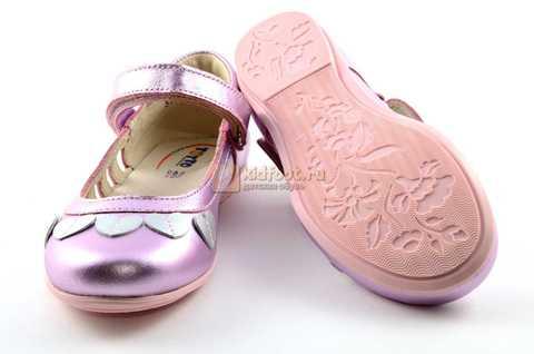 Туфли для девочек кожаные на липучке Тотто, цвет розовый металлик, 10210A. Изображение 8 из 12.