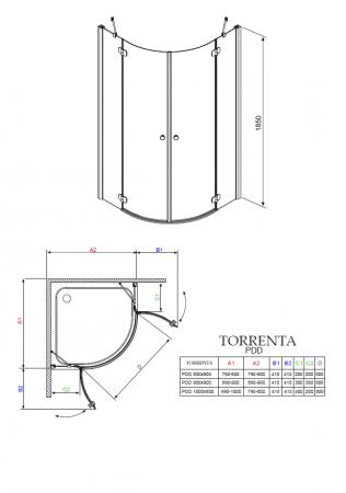Душевой угол RADAWAY Torrenta PDD/E 100 х 80 31640-01-05