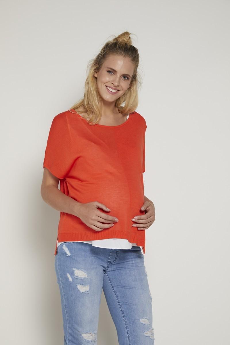 Блузка для беременных и кормящих 09373 оранжевый