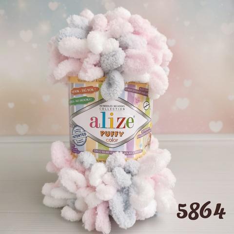 ALIZE PUFFY COLOR 5864, Белый/серый/розовый