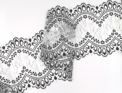 Кружево шантильи с ресничками, 24 см, экрю и черный, купон (1,45м)