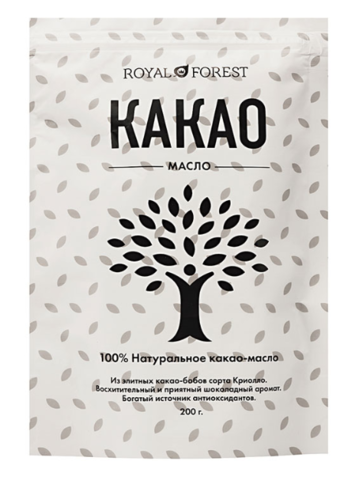Какао-масло Royal Forest, 200 гр