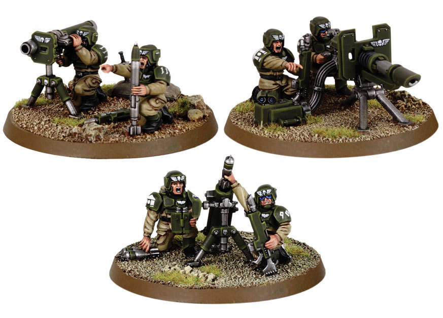 Cadian Heavy Weapon Squad. Все три расчета