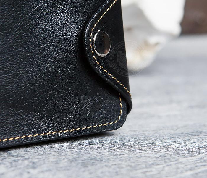 WB128-3 Черный мужской кошелек из натуральной кожи на застежке. «Boroda Design» фото 02