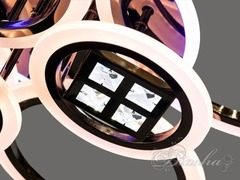 Потолочная Светодиодная люстра с пультом диммером и подсветкой 150W Черный Хром