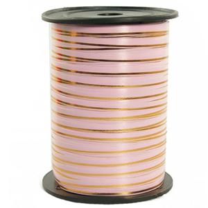 Лента 250м Розовая с золотой полосой