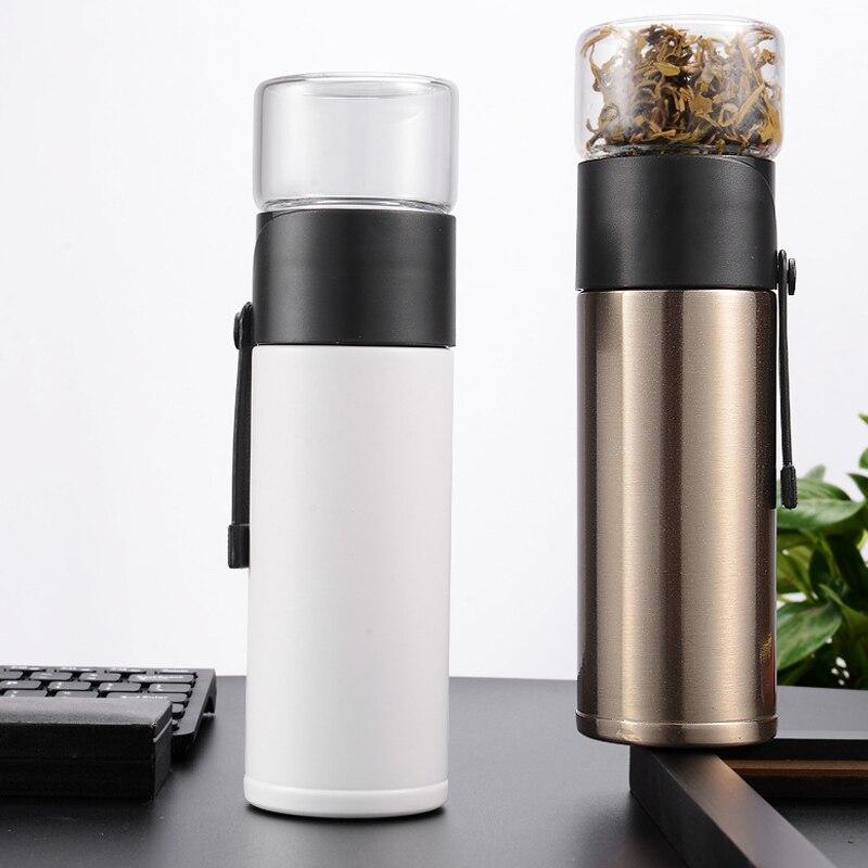 Чайная термобутылка с ситечком и ремешком белая