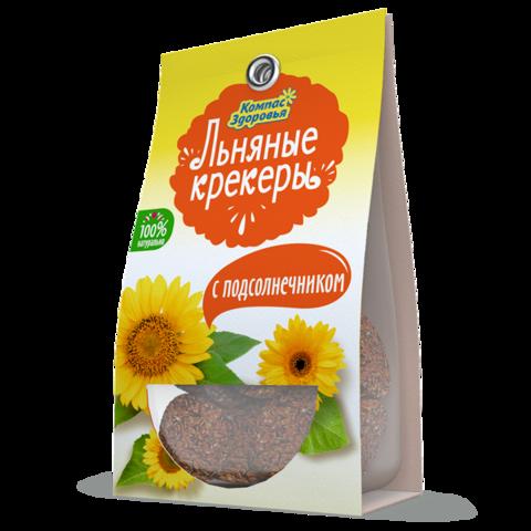 Крекеры льняные с подсолнечником, 50 гр. (Компас Здоровья)