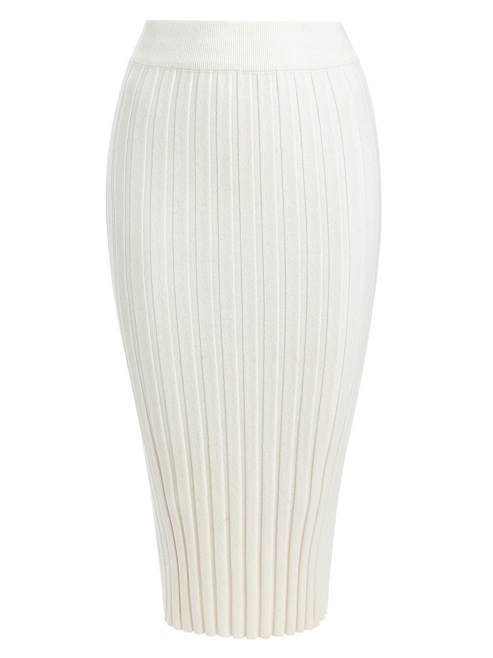 Женская юбка молочного цвета из 100% кашемира - фото 1