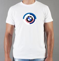 Футболка с принтом BMW M (БМВ М) белая 0037