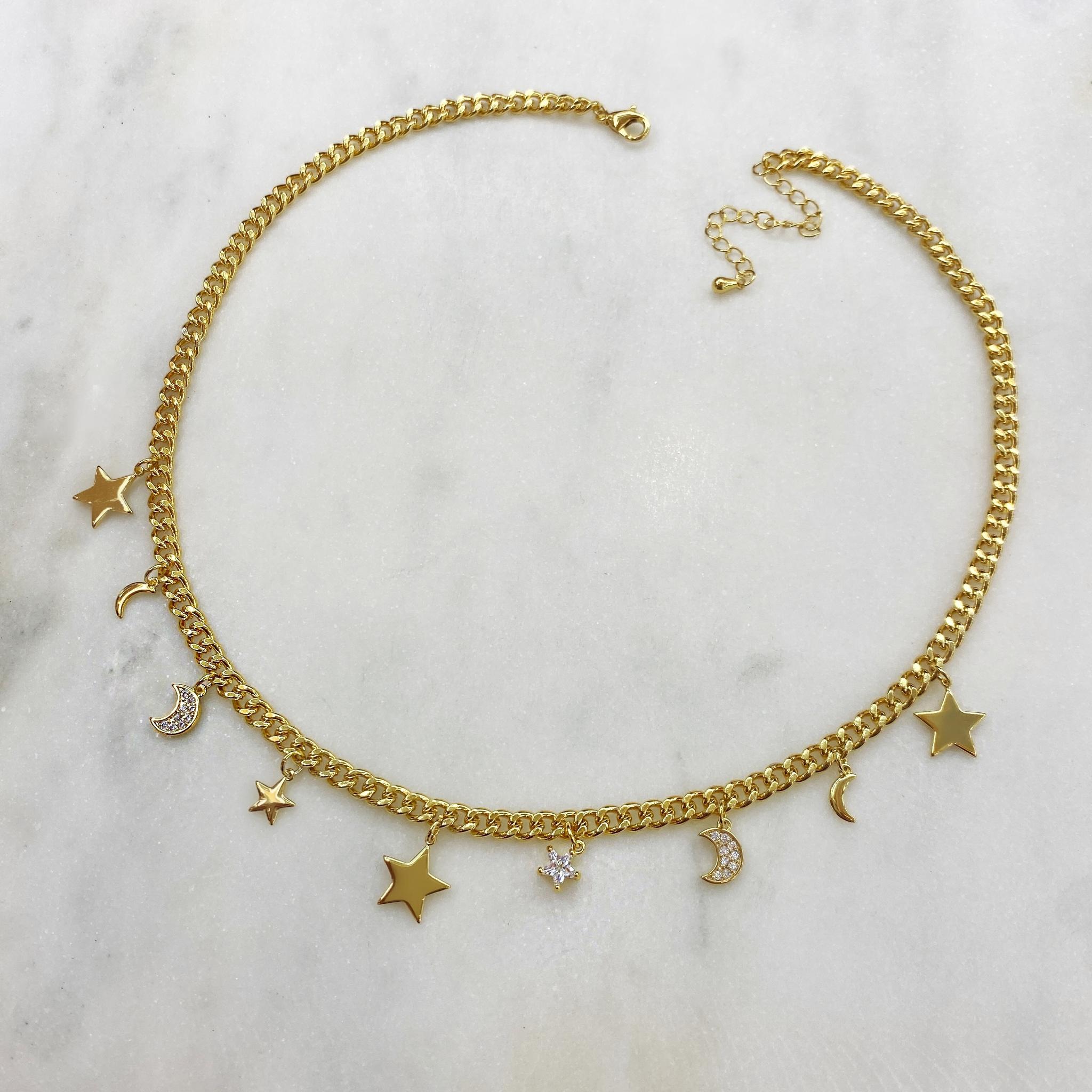 Чокер-цепь Звезды и Месяцы (золотистый)