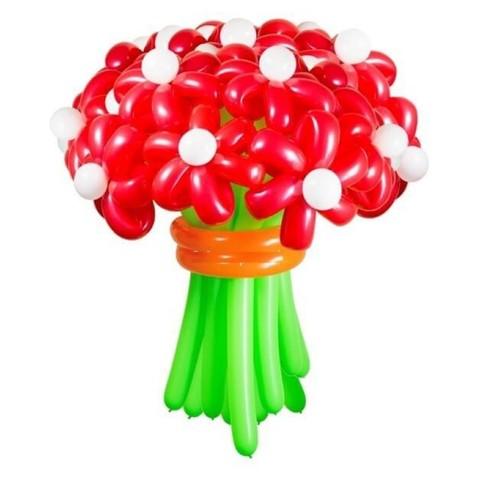 Ромашки из воздушных шаров красные
