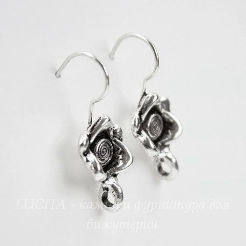 """Швензы - крючки """"Роза"""", 24 мм (цвет - античное серебро), пара"""