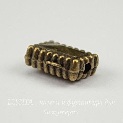 Бусина прямоугольная с узором (цвет - античная бронза ) 10х7х5 мм