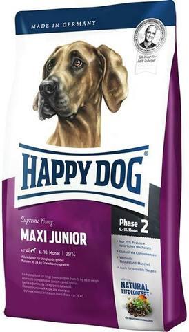 15 кг. HAPPY DOG Сухой корм для юниоров крупных пород Supreme Maxi Junior
