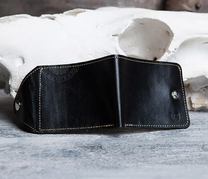 WB128-3 Черный мужской кошелек из натуральной кожи на застежке. «Boroda Design» фото 03
