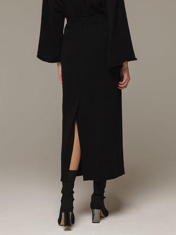 Женская черная юбка с разрезом из 100% кашемира - фото 2