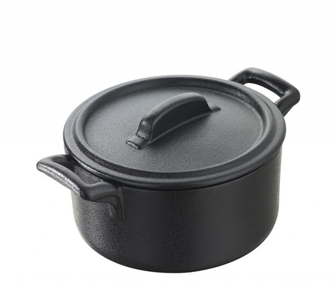 Круглая фарфоровая  кокотница  с крышкой, черная, артикул 641637, серия Belle Cuisine