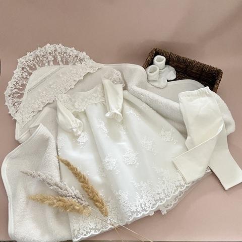 Крестильный набор для девочки Милашка молочный