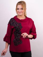 Мілана. Стильна блуза великих розмірів. Бордо.