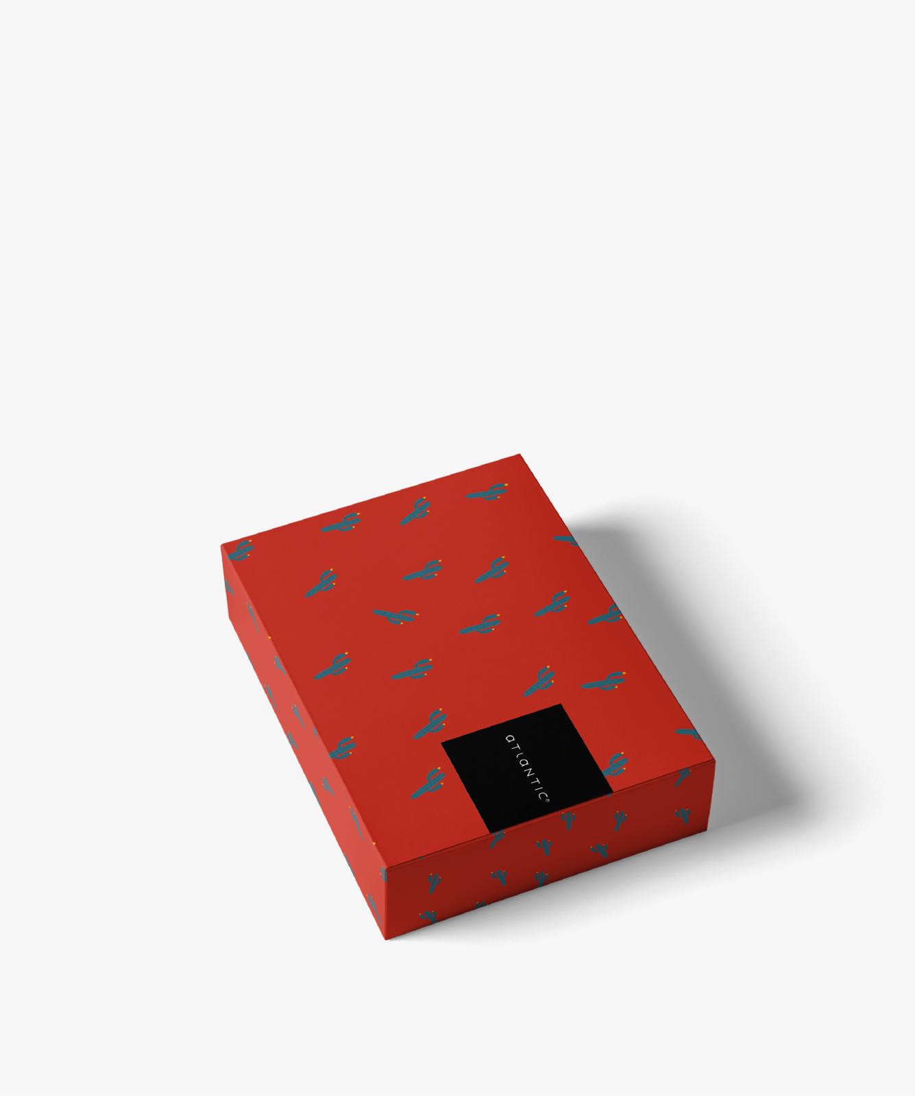 Мужские трусы шорты Atlantic, набор из 2 шт., хлопок, красные + темно-синие, 2GMH-001
