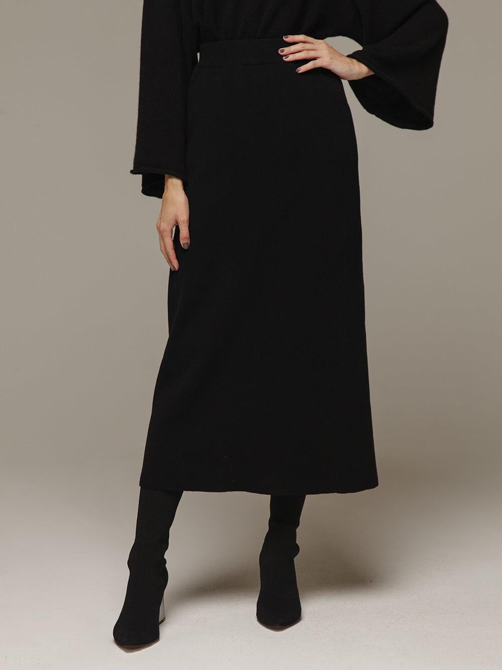 Женская черная юбка с разрезом из 100% кашемира - фото 1