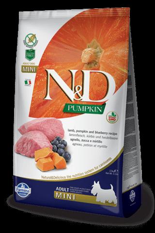 купить Farmina N&D Pumpkin Lamb & Blueberry Adult Mini сухой беззерновой корм для собак мелких и карликовых пород