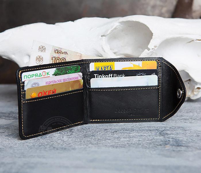 WB128-3 Черный мужской кошелек из натуральной кожи на застежке. «Boroda Design» фото 05