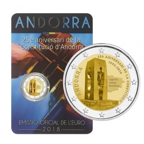 """2 евро Андорра """"25-летие конституции"""" 2018 год"""