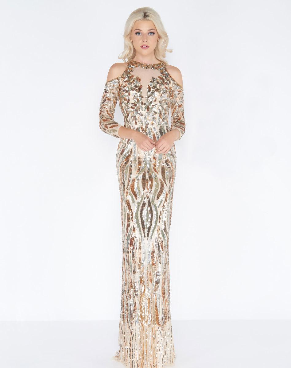 Mac Duggal 4573A Золотое платье в пол с открытой спиной, украшенное пайетками. Застежка: Потайная молния сзади