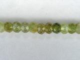 Бусина из граната зеленого, фигурная, 3x4 мм (рондель, граненая)