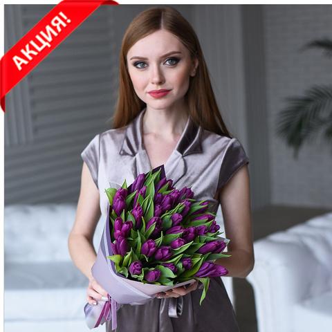 Букет 35 пурпурных тюльпанов