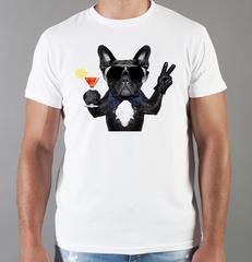 Футболка с принтом собаки (Собачки, Французский бульдог) белая 0054