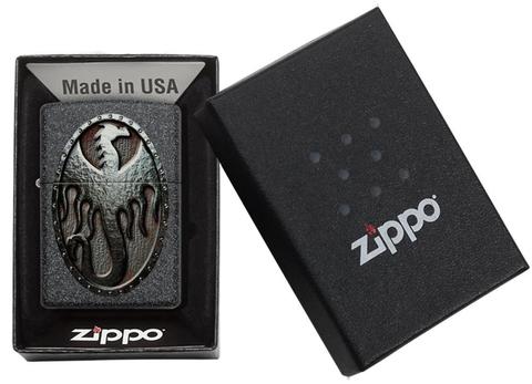 Зажигалка Zippo Metal Dragon Shield Design с покрытием Iron Stone, латунь/сталь, серая, матовая123