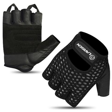 Перчатки для т/а и фитнеса (нат.кожа) Larsen 16-1961 black/black (M)