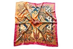 Итальянский платок из шелка розово-золотой с орнаментом 5378