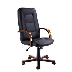Кресло для руководителя Verona черное (кожа/темный орех)