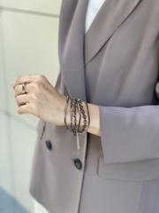 Кольцо с коричневым круглым японским хрусталем, бисером и серебром  оптом и в розницу
