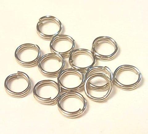 Кольцо двойное 5 мм цвет платина цена за 10 шт