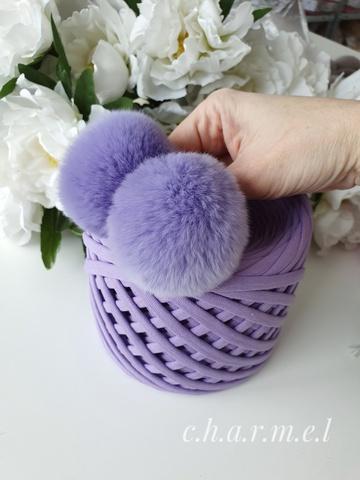 Помпон из натурального меха, Кролик, 5-6 см, цвет Сирень, 2 штуки