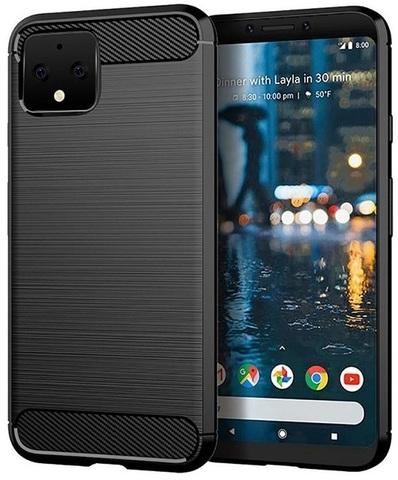 Чехол на Google Pixel 4 цвет Black (черный), серия Carbon от Caseport
