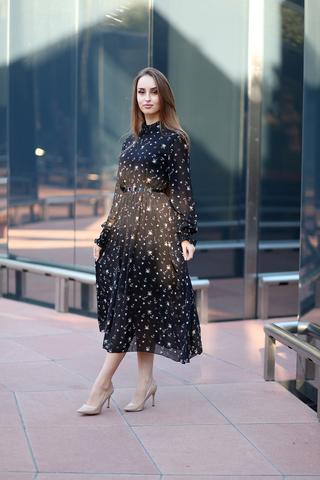 Платье из черного шифона длинное купить