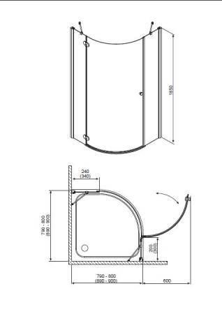 Душевой угол RADAWAY Torrenta PDJ 90 L/R 31700(31800)-01-01